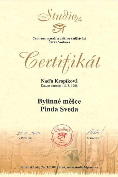 Certifikát masáže Bylinnými měšci