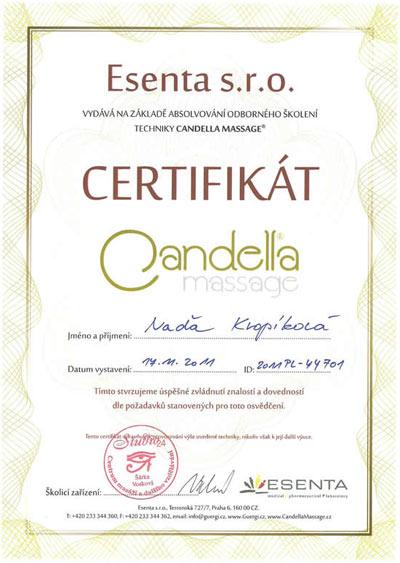 Certifikát Candella masáž
