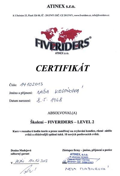 Certifikát Fiveriders 2