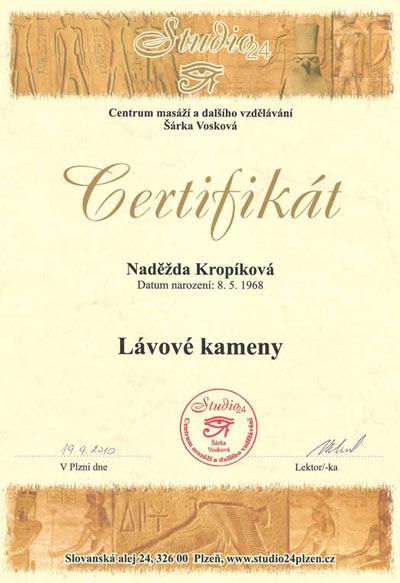 Certifikát Masáž lávovými kameny