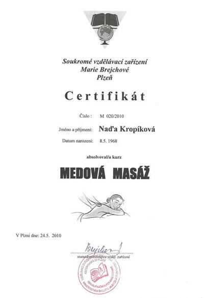 Certifikát Medová masáž