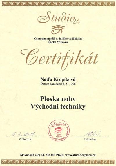 Certifikát Masáž plosky nohy Východní techniky