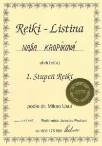 Certifikát 1. stupeň Reiki