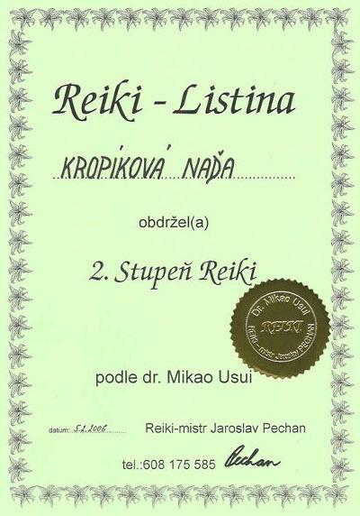 Certifikát 2. stupeň Reiki