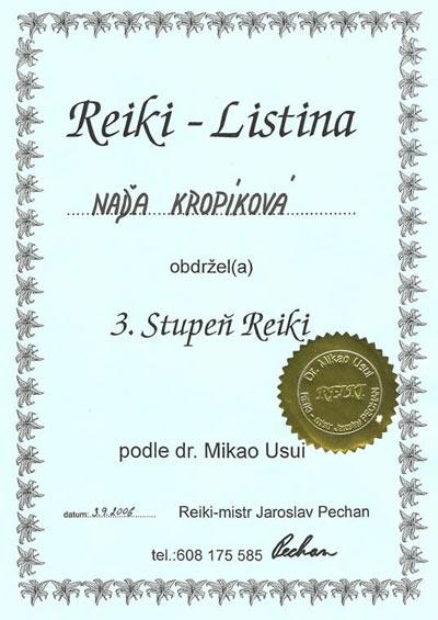 Certifikát 3. stupeň Reiki