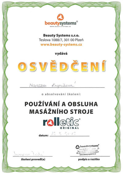 Certifikát Rolletic