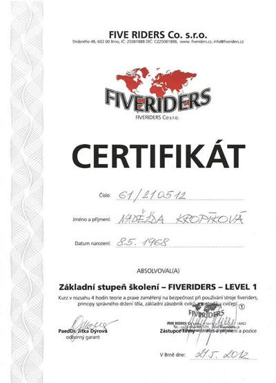Certifikát Fiveriders
