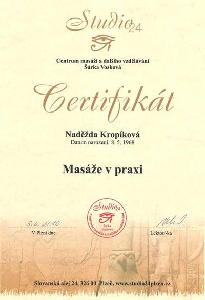 Certifikát Masáže v praxi