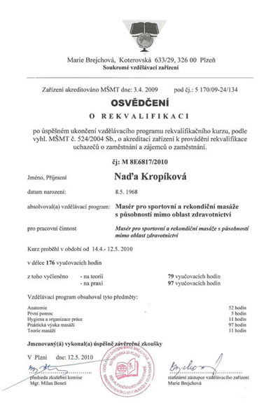 Certifikát Sportovní a rekondiční masáže